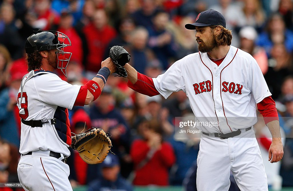 <a gi-track='captionPersonalityLinkClicked' href=/galleries/search?phrase=Jarrod+Saltalamacchia&family=editorial&specificpeople=836404 ng-click='$event.stopPropagation()'>Jarrod Saltalamacchia</a> #39 of the Boston Red Sox celebrates with <a gi-track='captionPersonalityLinkClicked' href=/galleries/search?phrase=Andrew+Miller+-+Baseball+Player&family=editorial&specificpeople=4496823 ng-click='$event.stopPropagation()'>Andrew Miller</a> #30 after defeating the Tampa Bay Rays at Fenway Park on April 14, 2013 in Boston, Massachusetts.
