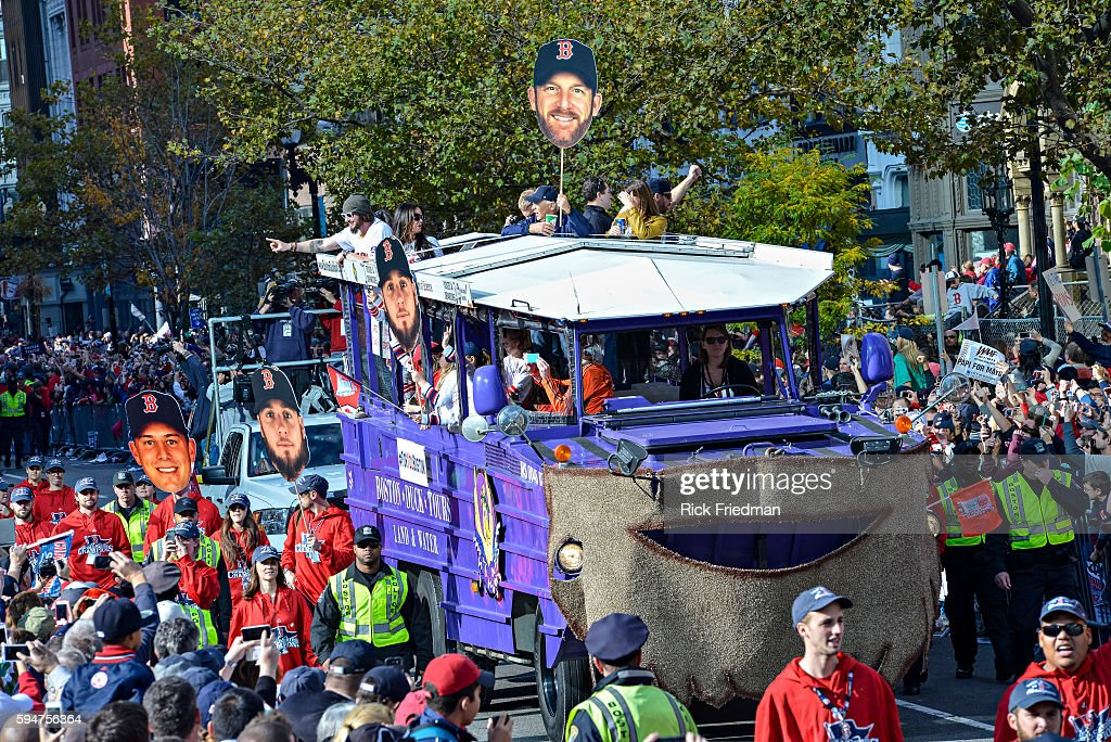 Jarrod Saltalamacchia of the Boston Red Sox during the World Series victory Rolling Rally as it passes through Copley Square in Boston MA on November...