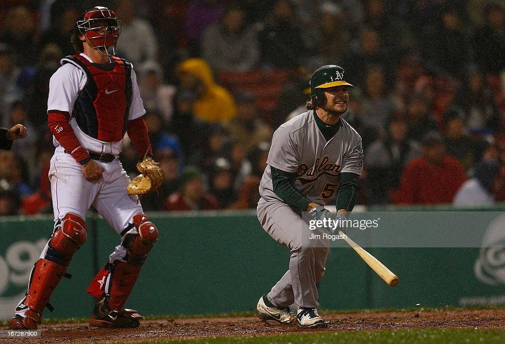 <a gi-track='captionPersonalityLinkClicked' href=/galleries/search?phrase=Jarrod+Saltalamacchia&family=editorial&specificpeople=836404 ng-click='$event.stopPropagation()'>Jarrod Saltalamacchia</a> #39 of the Boston Red Sox watches as <a gi-track='captionPersonalityLinkClicked' href=/galleries/search?phrase=John+Jaso&family=editorial&specificpeople=4951282 ng-click='$event.stopPropagation()'>John Jaso</a> #5 of the Oakland Athletics knocks in two runs in the fifth inning against the Boston Red Sox at Fenway Park on April 23, 2013 in Boston, Massachusetts.