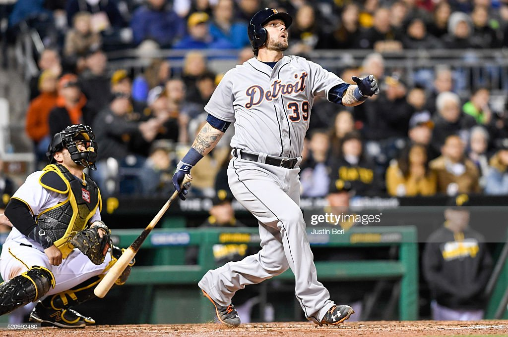 <a gi-track='captionPersonalityLinkClicked' href=/galleries/search?phrase=Jarrod+Saltalamacchia&family=editorial&specificpeople=836404 ng-click='$event.stopPropagation()'>Jarrod Saltalamacchia</a> #39 of the Detroit Tigers hits a grand slam home run in the sixth inning during the game against the Pittsburgh Pirates at PNC Park on April 13, 2016 in Pittsburgh, Pennsylvania.