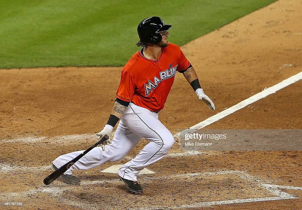 Jarrod Saltalamacchia #39 of the Miami Marlins hits during Opening Day against the Colorado Rockies at Marlins Park on March 31, 2014 in Miami, Florida.