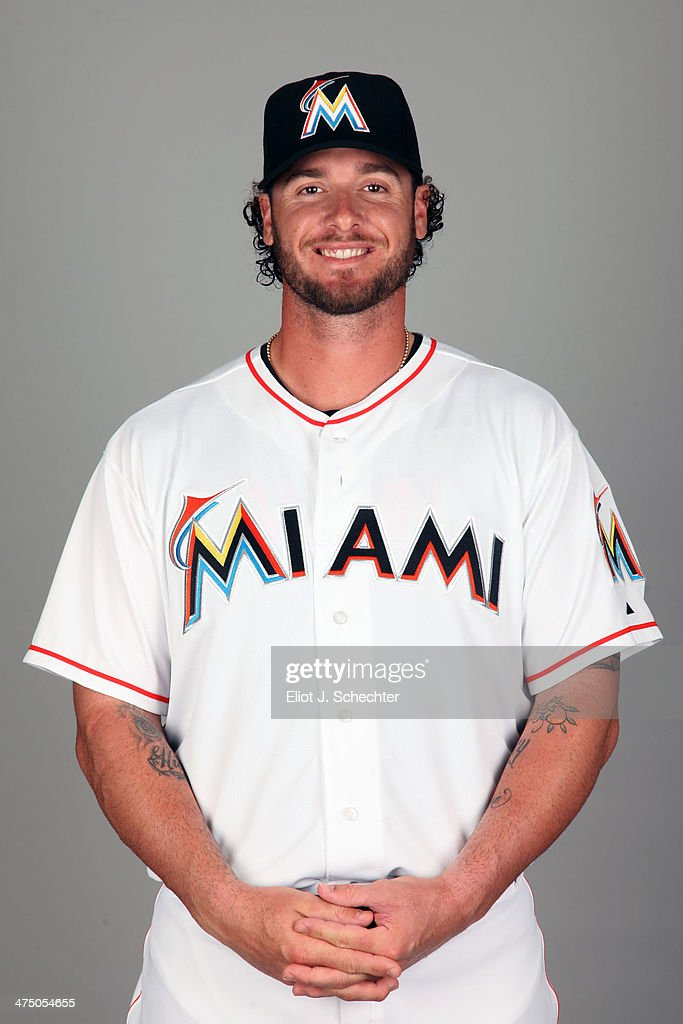 Jarrod Saltalamacchia #39 of the Miami Marlins poses during Photo Day on Tuesday, February 25, 2014 at Roger Dean Stadium in Jupiter, Florida.