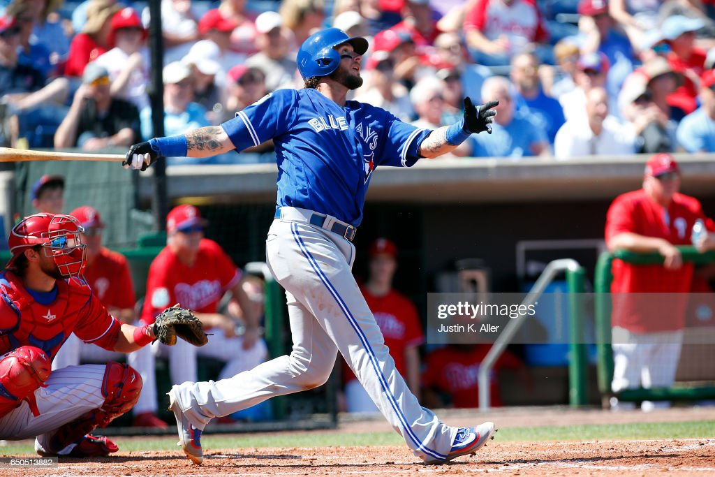 Jarrod Saltalamacchia #10 of the Toronto Blue Jays hits a home run in the third inning against the Philadelphia Phillies on March 9, 2017 at Spectrum Field in Clearwater, Florida.