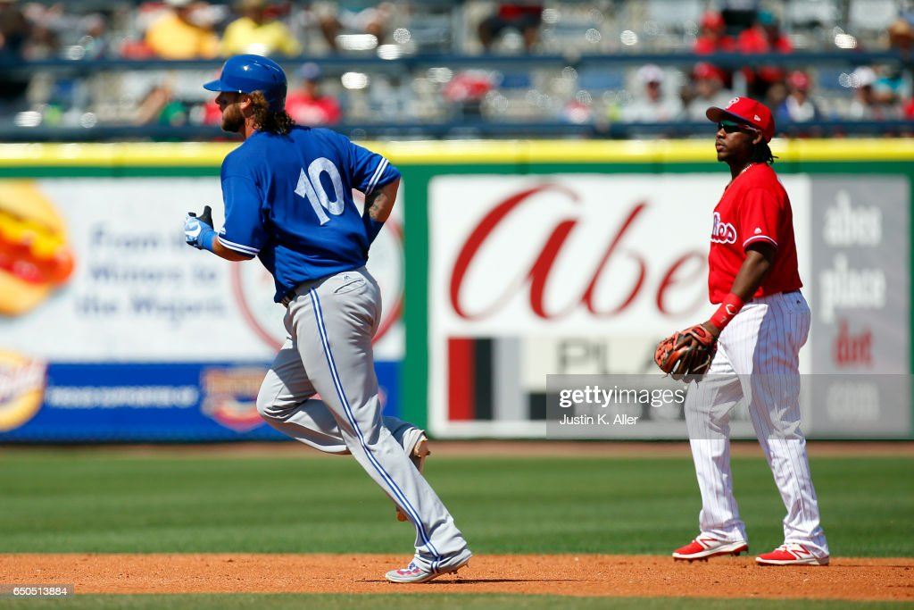 Jarrod Saltalamacchia #10 of the Toronto Blue Jays rounds second after hitting a home run in the third inning against the Philadelphia Phillies on March 9, 2017 at Spectrum Field in Clearwater, Florida.