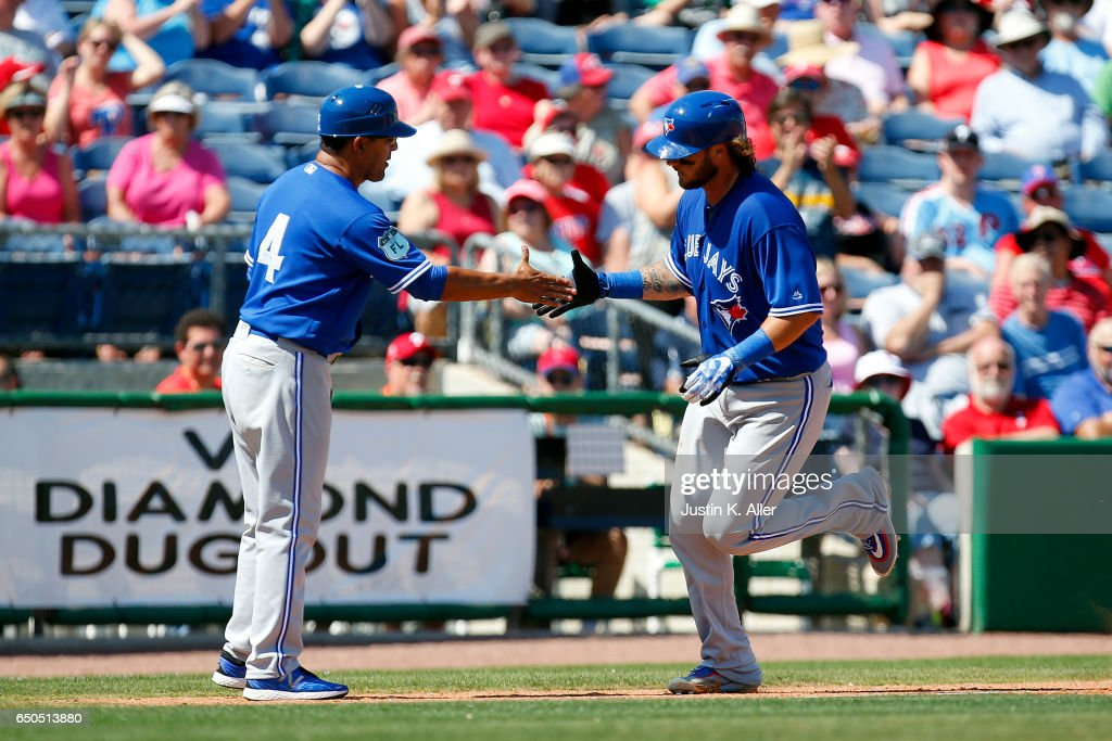 Jarrod Saltalamacchia #10 of the Toronto Blue Jays rounds third after hitting a home run in the third inning against the Philadelphia Phillies on March 9, 2017 at Spectrum Field in Clearwater, Florida.