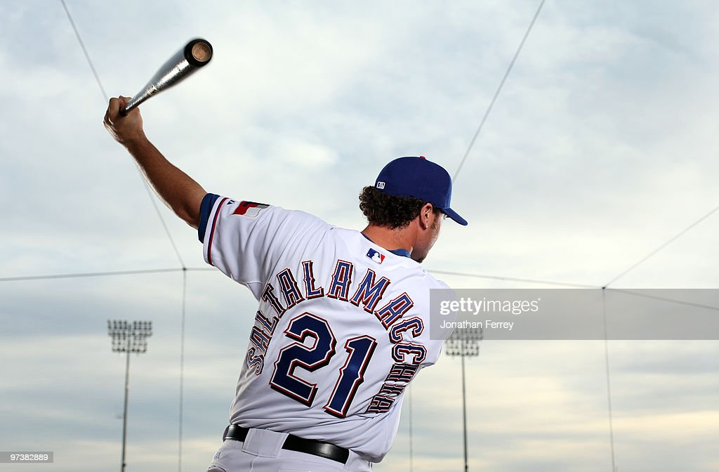 Jarrod Saltalamacchia #21 poses for a portrait during the Texas rangers Photo Day at Surprise on March 2, 2010 in Surprise, Arizona.