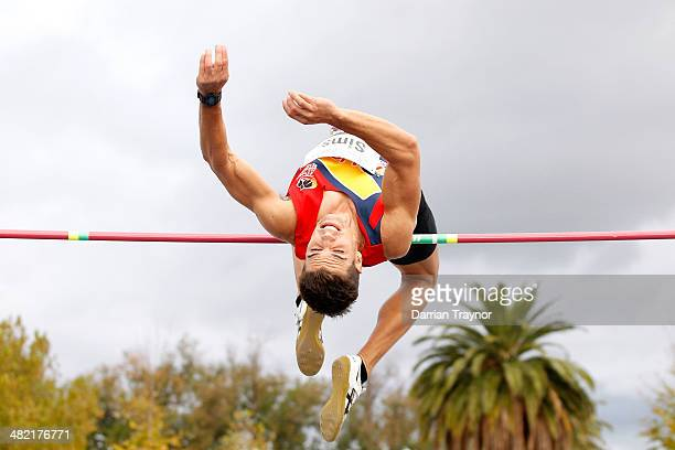 Jarrod Sims of South Australia competes in the high jump during the 92nd Australian Athletics Championships at Olympic Park on April 3 2014 in...