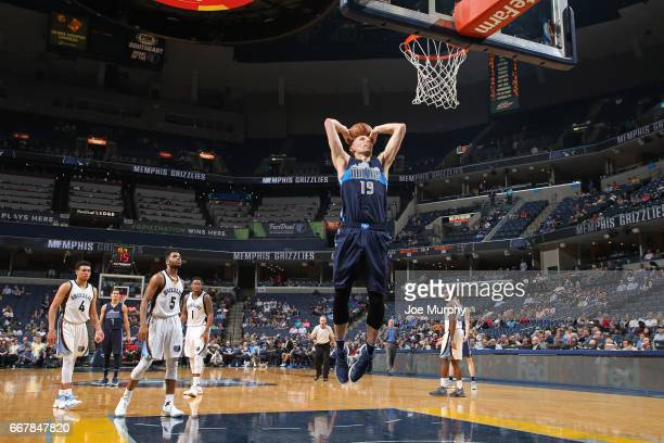 Jarrod Uthoff of the Dallas Mavericks dunks the ball against the Memphis Grizzlies on April 12 2017 at FedEx Forum in Memphis Tennessee NOTE TO USER...