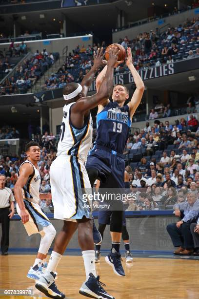 Jarrod Uthoff of the Dallas Mavericks shoots the ball against the Memphis Grizzlies on April 12 2017 at FedEx Forum in Memphis Tennessee NOTE TO USER...