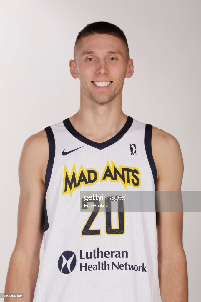 Jarrod Uthoff #20 of the Fort Wayne Mad Ants poses for a head shot during the NBA G-League media day on October 30, 2017 at The Ash Center in Fort Wayne, Indiana.