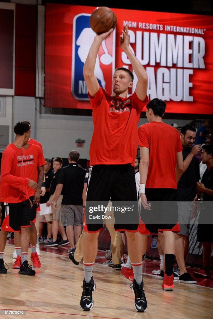 Jarrod Uthoff #63 of the Houston Rockets warms up against the Denver Nuggets during the 2017 Las Vegas Summer League on July 7, 2017 at the Cox Pavilion in Las Vegas, Nevada.