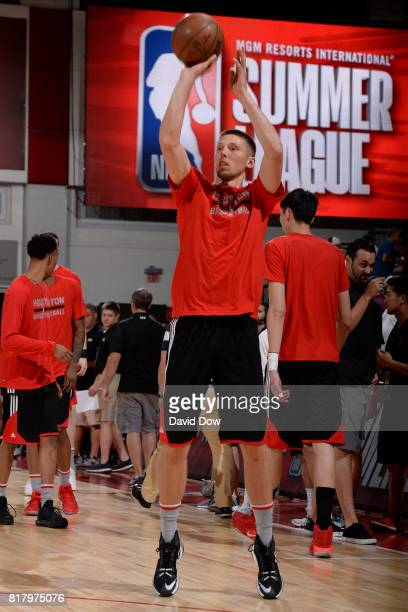 Jarrod Uthoff of the Houston Rockets warms up against the Denver Nuggets during the 2017 Las Vegas Summer League on July 7 2017 at the Cox Pavilion...
