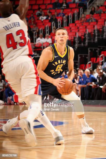 Jarrod Uthoff of the Indiana Pacers handles the ball against the Detroit Pistons on October 9 2017 at Little Caesars Arena in Detroit Michigan NOTE...