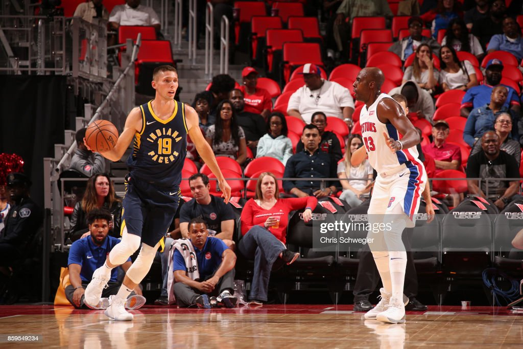 Jarrod Uthoff #19 of the Indiana Pacers handles the ball against the Detroit Pistons on October 9, 2017 at Little Caesars Arena in Detroit, Michigan.