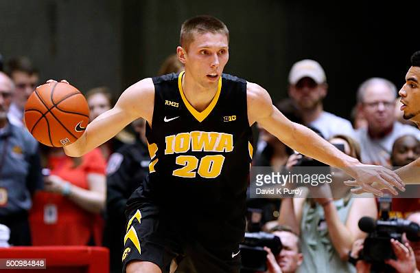 Jarrod Uthoff of the Iowa Hawkeyes drives the ball in the first half of play against the Iowa State Cyclones at Hilton Coliseum on December 10 2015...