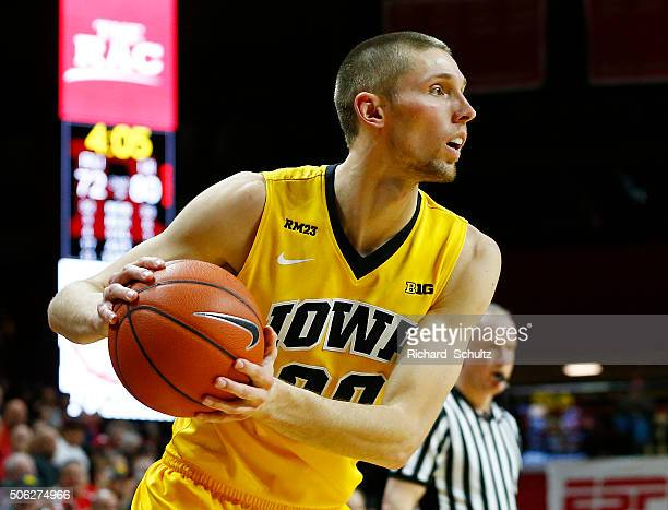Jarrod Uthoff of the Iowa Hawkeyes in action against the Rutgers Scarlet Knights during the second half of a college basketball game at the Rutgers...