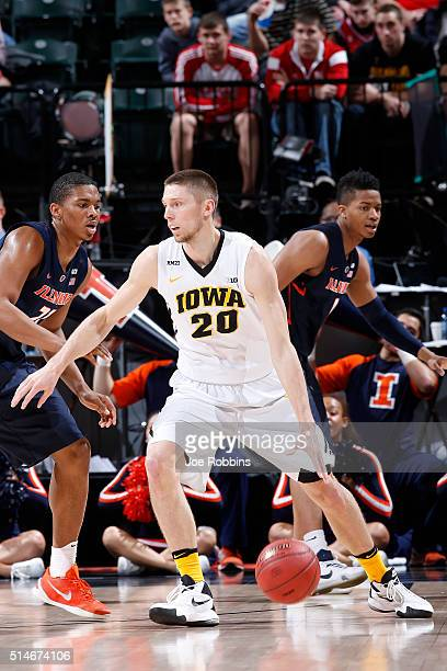 Jarrod Uthoff of the Iowa Hawkeyes looks to the basket against the Illinois Fighting Illini in the second round of the Big Ten Basketball Tournament...