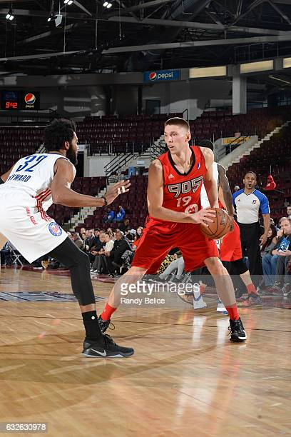 Jarrod Uthoff of the Raptors 905 handles the ball against Lazar Hayward of the Long Island Nets as part of 2017 NBA DLeague Showcase at the Hershey...