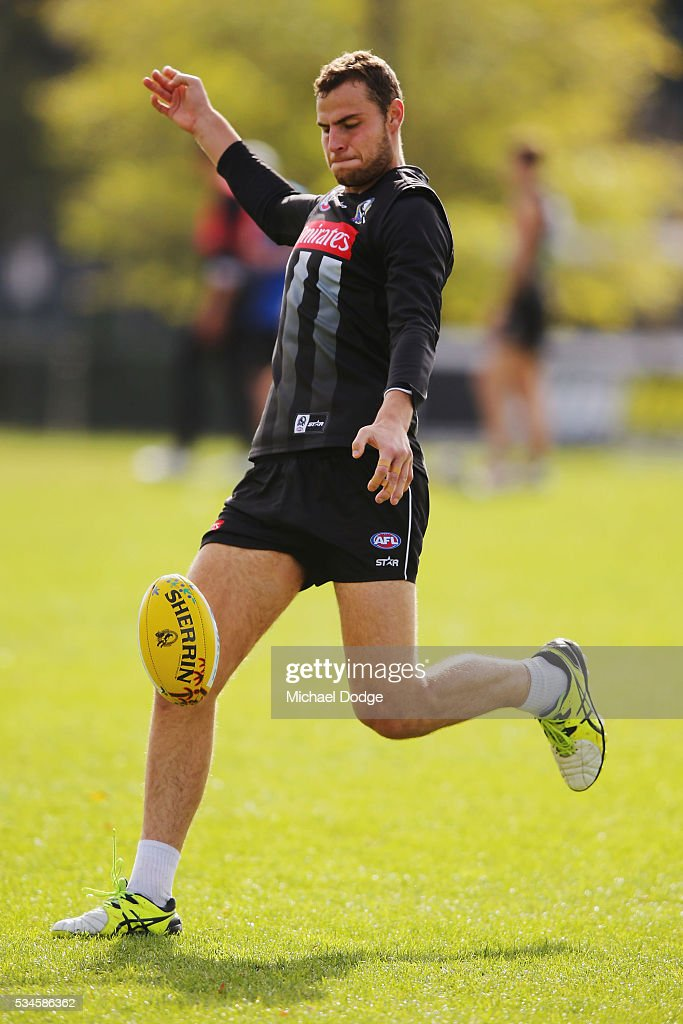 Jarrod Witts of the Magpies kicks the ball during a Collingwood Magpies AFL training session on May 27, 2016 in Melbourne, Australia.