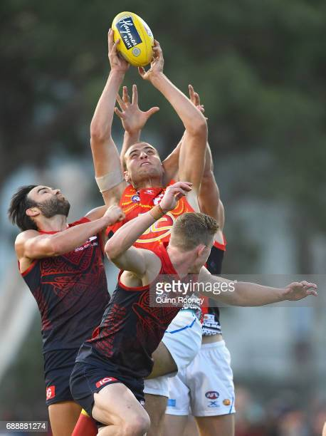 Jarrod Witts of the Suns marks during the round ten AFL match between the Melbourne Demons and the Gold Coast Suns at Traeger Park on May 27 2017 in...