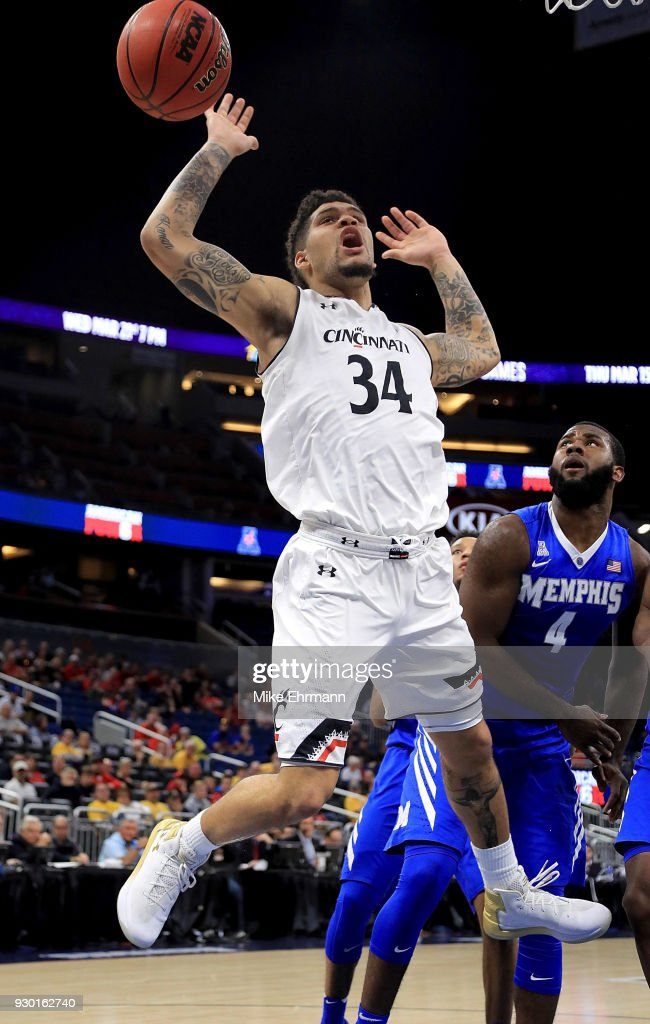 Jarron Cumberland #34 of the Cincinnati Bearcats loses the ball during a semifinal game of the 2018 AAC Basketball Championship against the Memphis Tigers at Amway Center on March 10, 2018 in Orlando, Florida.