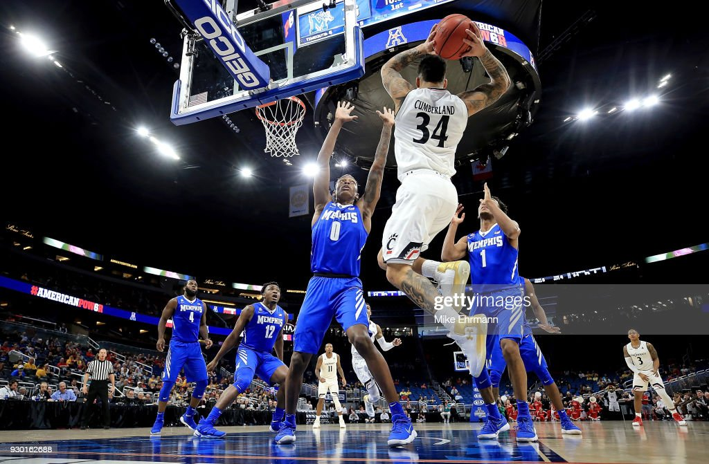 Jarron Cumberland #34 of the Cincinnati Bearcats passes during a semifinal game of the 2018 AAC Basketball Championship against the Memphis Tigers at Amway Center on March 10, 2018 in Orlando, Florida.