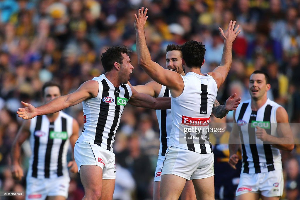 Jarryd Blair of the Magpies celebrates a goal during the round six AFL match between the West Coast Eagles and the Collingwood Magpies at Domain Stadium on May 1, 2016 in Perth, Australia.