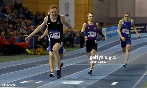 SHEFFIELD ENGLAND FEBRUARY Jarryd Dunn crosses the line to win the mens 400 metres during the British Athletics Indoor Team Trials 2017 at English...