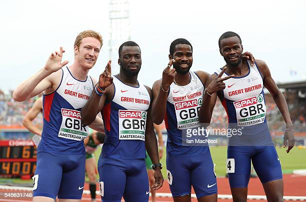 Jarryd Dunn Nigel Levine Delano Williams and Rabah Yousif Bkheit of Great Britain pose for a picture following their heat of the mens 4x400m realy on...