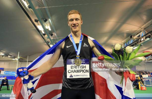 Jarryd Dunn of Great Britain celebrates winning the mens 400m during day two of the British Athletics Indoor Team Trials 2017 at the English...