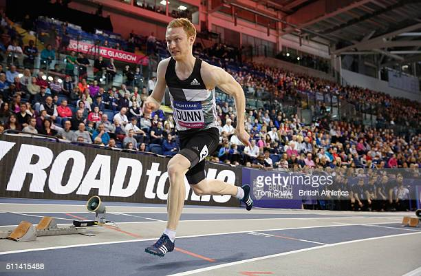 Jarryd Dunn of Great Britain in action during the men's 400m during the Glasgow Indoor Grand Prix at Emirates Arena on February 20 2016 in Glasgow...