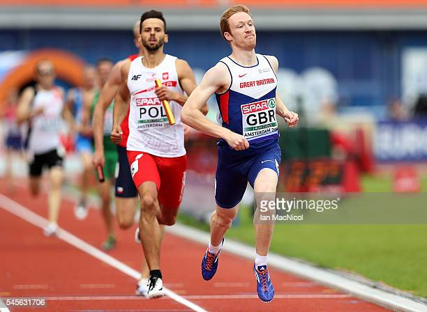 Jarryd Dunn of Great Britain in action during the qualifying round of the mens 4x400m relay on day four of The 23rd European Athletics Championships...