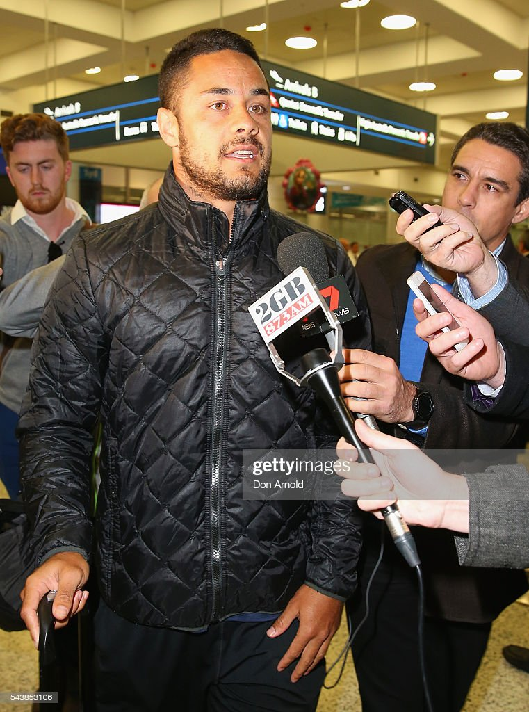 <a gi-track='captionPersonalityLinkClicked' href=/galleries/search?phrase=Jarryd+Hayne&family=editorial&specificpeople=563352 ng-click='$event.stopPropagation()'>Jarryd Hayne</a> is questioned by waiting media upon arrival at Sydney International Airport on June 30, 2016 in Sydney, Australia. Radradra has been in Fiji on an extended break from the Parramatta Eels NRL club. Hayne has been in Fiji as he continued to train as part of the Fiji Rugby Sevens squad.