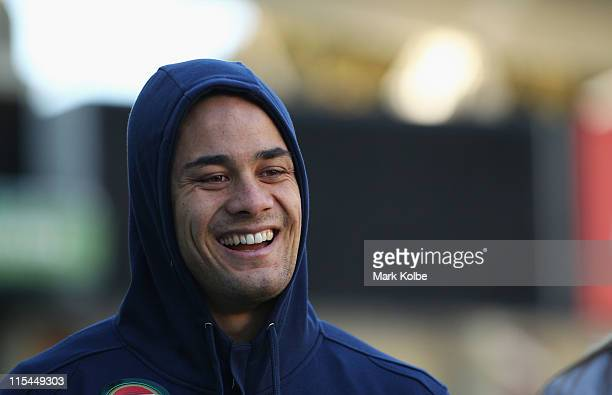 Jarryd Hayne laughs during the New South Wales State of Origin team photo session at Sydney Football Stadium on June 7 2011 in Sydney Australia