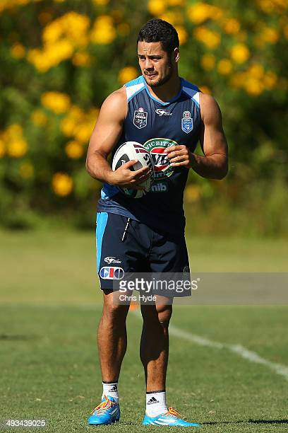 Jarryd Hayne looks on during a New South Wales Blues State of Origin training session on May 24 2014 in Coffs Harbour Australia