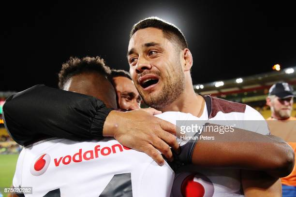 Jarryd Hayne of Fiji celebrates after winning the 2017 Rugby League World Cup Quarter Final match between New Zealand and Fiji at Westpac Stadium on...