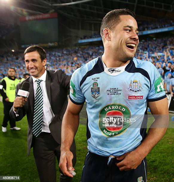 Jarryd Hayne of the Blues celebrates winning the series after game two of the State of Origin series between the New South Wales Blues and the...