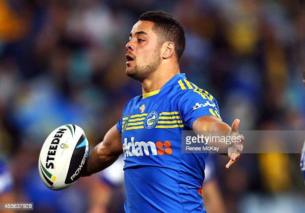 Jarryd Hayne of the Eels celebrates a try during the round 23 NRL match between the Parramatta Eels and the Canterbury Bulldogs at ANZ Stadium on...