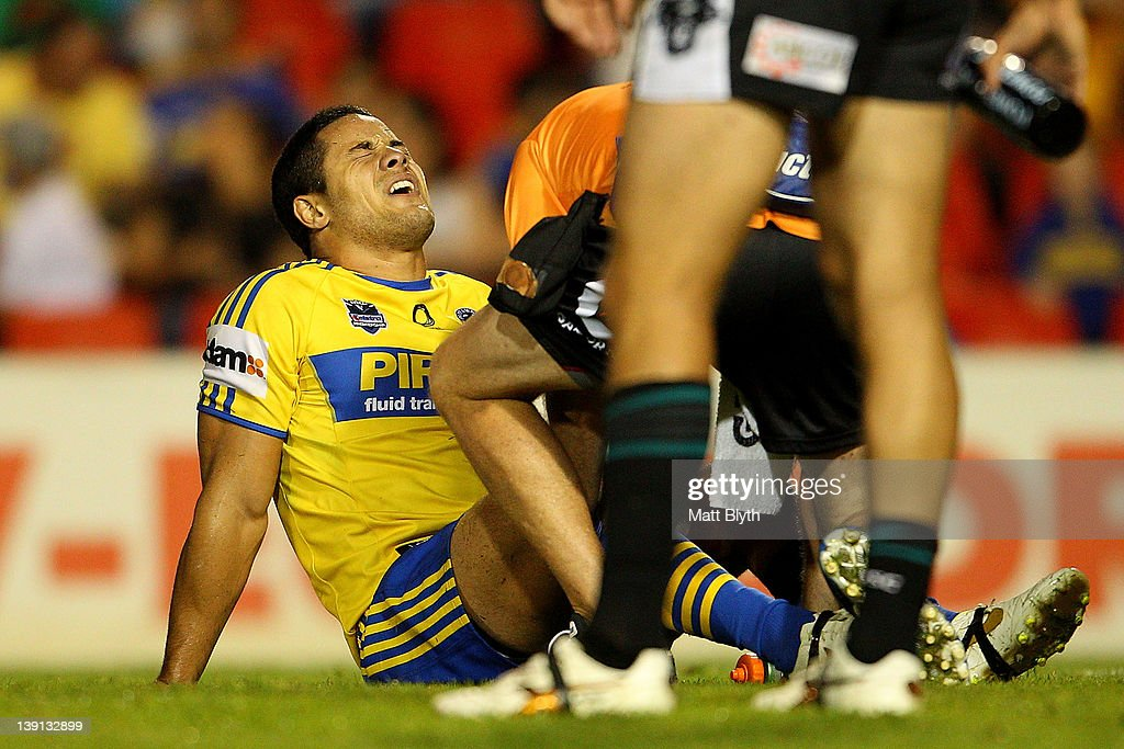 Jarryd Hayne of the Eels reacts after an injury during the NRL trial match between the Penrith Panthers and the Parramatta Eels at Centrebet Stadium on February 17, 2012 in Sydney, Australia.