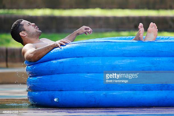 Jarryd Hayne of the Eels reacts to sitting in an ice bath during a Parramatta Eels NRL recovery session at Pirtek Stadium on May 13 2014 in Sydney...