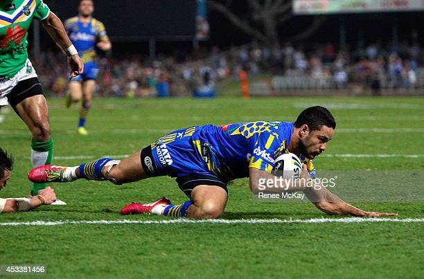 Jarryd Hayne of the Eels scores his second try during the round 22 NRL match between the Parramatta Eels and the Canberra Raiders at TIO Stadium on...