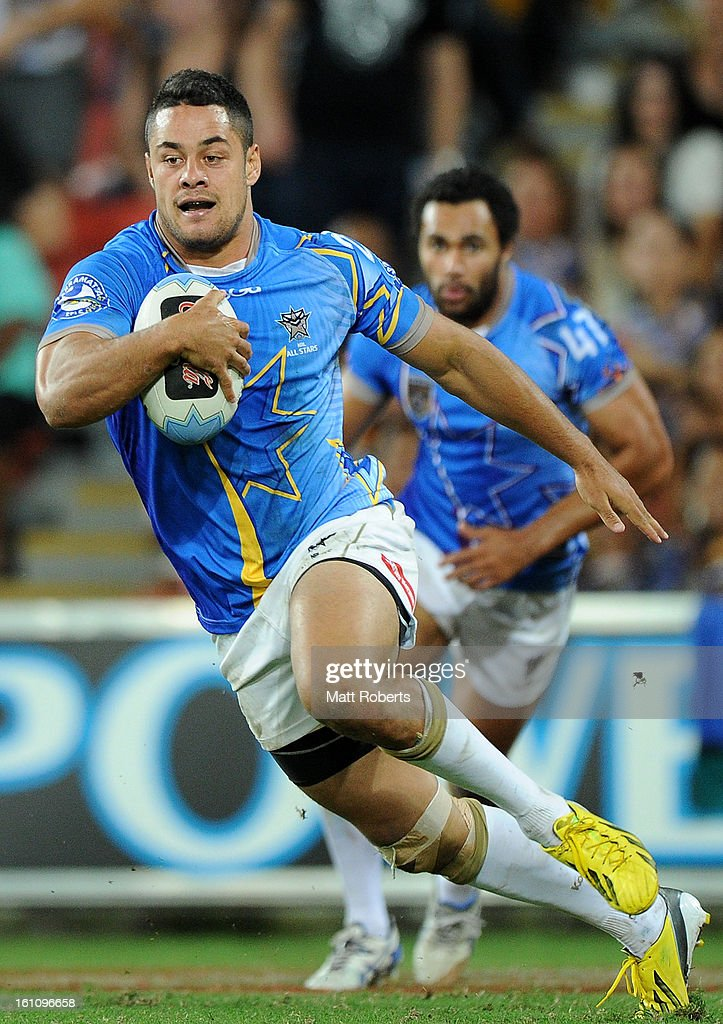 Jarryd Hayne of the NRL All Stars runs with the ball during the NRL All Stars Game between the Indigenous All Stars and the NRL All Stars at Suncorp Stadium on February 9, 2013 in Brisbane, Australia.