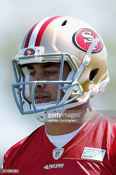 Jarryd Hayne of the San Francisco 49ers participates in practice drills during a media opportunity at Levi's Stadium on April 29 2015 in Santa Clara...