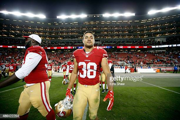 Jarryd Hayne of the San Francisco 49ers walks off the field after their NFL preseason game against the San Diego Chargers at Levi's Stadium on...