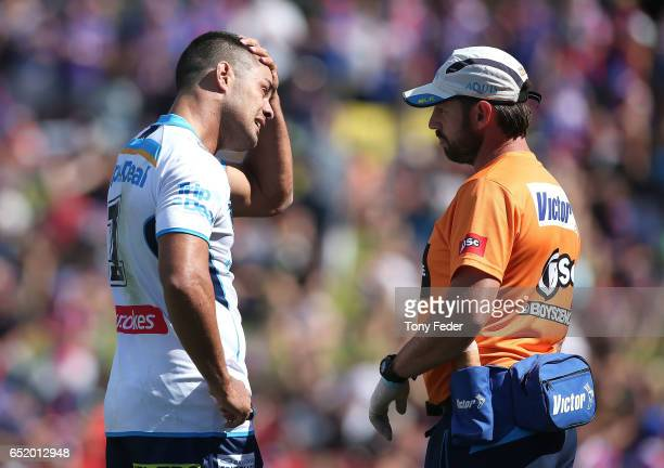 Jarryd Hayne of the Titans is injured during the round two NRL match between the Newcastle Knights and the Gold Coast Titans at McDonald Jones...