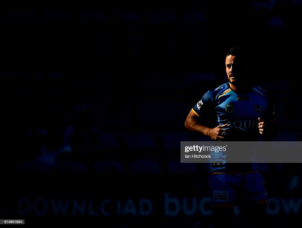 Jarryd Hayne of the Titans warms up before the start of the round nine NRL match between the Gold Coast Titans and the Newcastle Knights at Cbus Super Stadium on April 29, 2017 in Gold Coast, Australia.