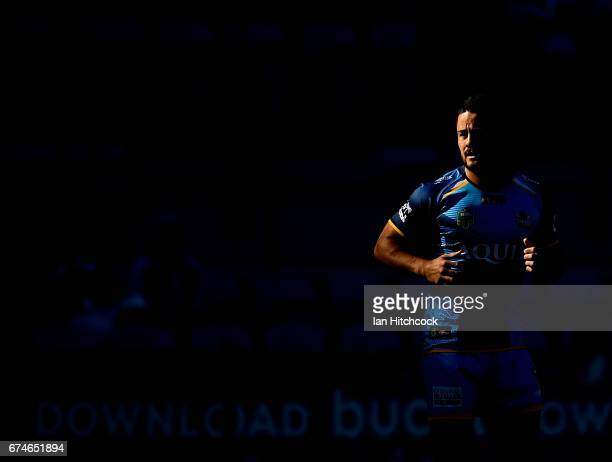 Jarryd Hayne of the Titans warms up before the start of the round nine NRL match between the Gold Coast Titans and the Newcastle Knights at Cbus...