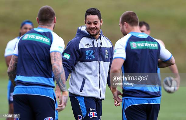 Jarryd Hayne smiles during a New South Wales State of Origin training session at Novotel Coffs Harbour on June 14 2014 in Coffs Harbour Australia
