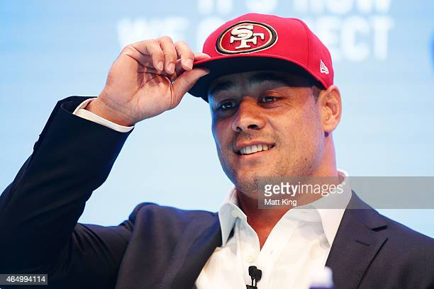 Jarryd Hayne speaks to the media during a press conference at the Telstra Amphitheatre on March 3 2015 in Sydney Australia Hayne has signed a NFL...