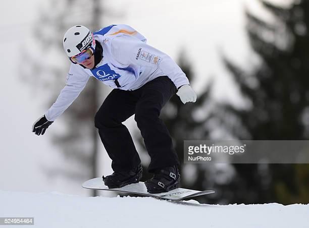 Jarryd Hughes from AUstria during a Men's Snowboardcross Qualification round at FIS Snowboard World Championship 2015 in Kreischberg Kreischberg...